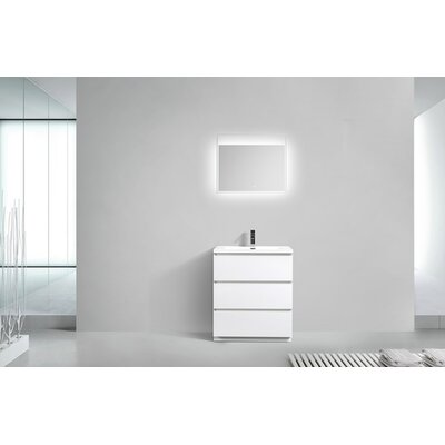 Riker Free Standing 36 Single Bathroom Vanity Set Finish: High Gloss White
