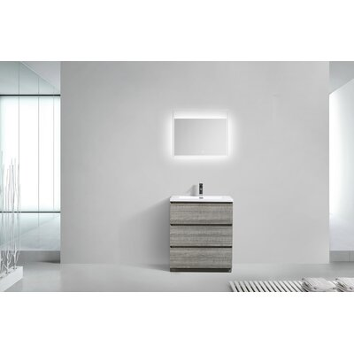 Riker Free Standing 36 Single Bathroom Vanity Set Finish: High Gloss Ash Gray