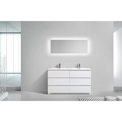 Riker Free Standing 60 Double Bathroom Vanity Set Base Finish: High Gloss White