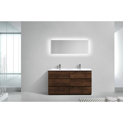 Riker Free Standing 60 Double Bathroom Vanity Set Base Finish: Rosewood