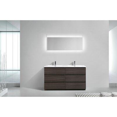 Riker Free Standing 60 Double Bathroom Vanity Set Base Finish: Dark Gray Oak
