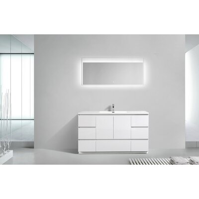 Riker Free Standing 60 Single Bathroom Vanity Set Base Finish: High Gloss White