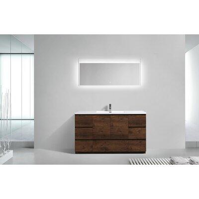 Riker Free Standing 60 Single Bathroom Vanity Set Base Finish: Rosewood