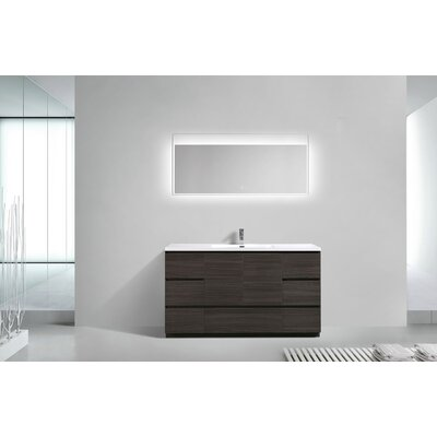 Riker Free Standing 60 Single Bathroom Vanity Set Base Finish: Dark Gray Oak