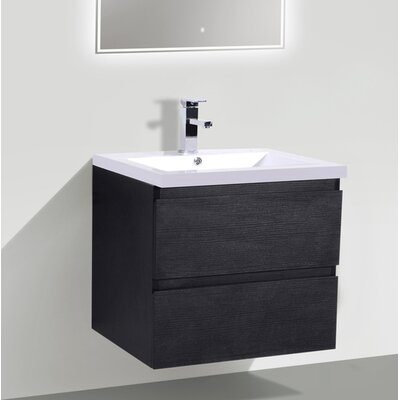 MOB 24 Single Bathroom Vanity Set Base Finish: Black
