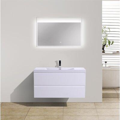 Mob 42 Single Bathroom Vanity Set Base Finish: High Gloss White