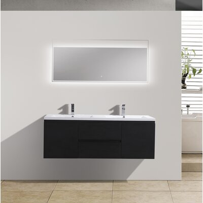MOB 59 Double Bathroom Vanity Set Base Finish: Black