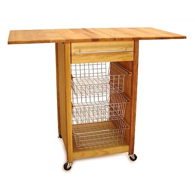 No credit financing Basket Kitchen Cart with Butcher Bl...