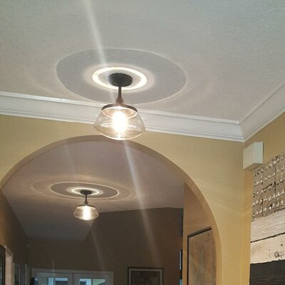 1-Light Semi Flush Mount Fixture Finish: Brushed Nickel