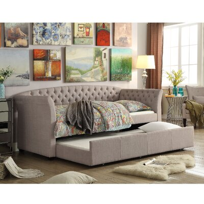 Horace Twin Daybed with Trundle Color: Beige