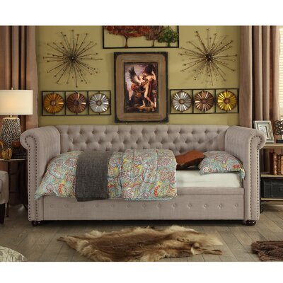 Dolson Twin Size Tufted Daybed Color: Beige