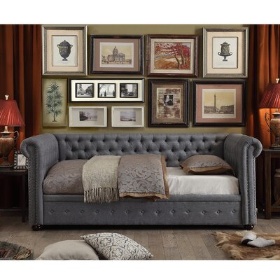 Dolson Twin Size Tufted Daybed Color: Gray