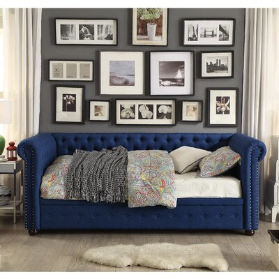 Davenport Twin Size Tufted Daybed Color: Navy