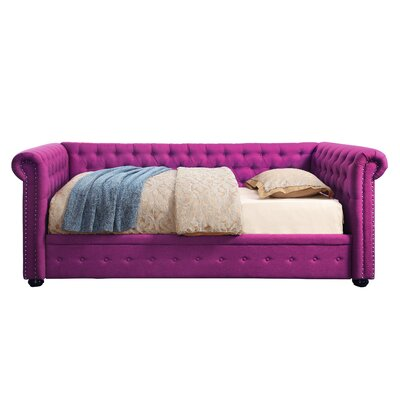 Davenport Twin Size Tufted Daybed Color: Pink