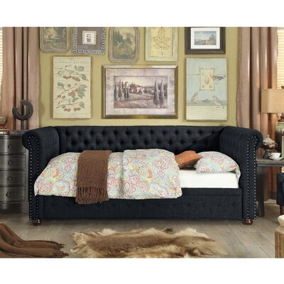 Dolson Twin Size Tufted Daybed Color: Charcoal