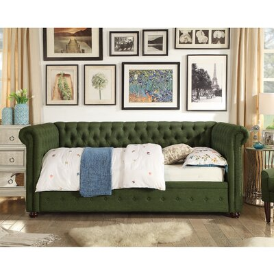 Dolson Twin Size Tufted Daybed Color: Green