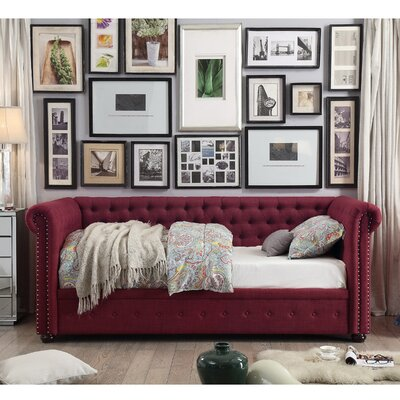 Dolson Twin Size Tufted Daybed Color: Burgundy