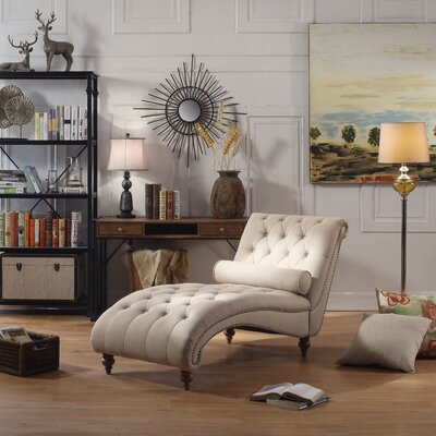 Yarmouth Chaise Tufted Lounge Chair Upholstery: Beige
