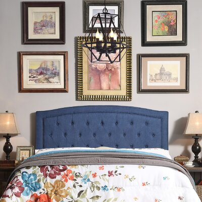 Fredon Upholstered Panel Headboard Upholstery: Navy Blue, Size: Queen
