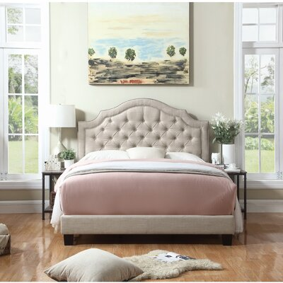 Julia Upholstered Panel Bed Size: King, Color: Beige