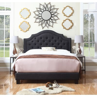 Julia Upholstered Panel Bed Size: King, Color: Charcoal