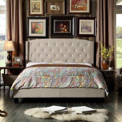 Martins Upholstered Panel Bed Color: Beige, Size: Full
