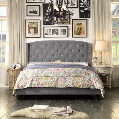 Martins Upholstered Panel Bed Color: Gray, Size: Queen