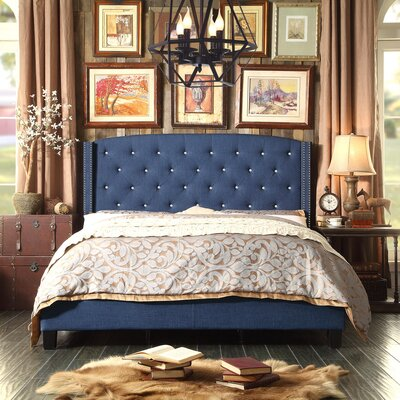 Martins Upholstered Panel Bed Color: Navy, Size: Queen
