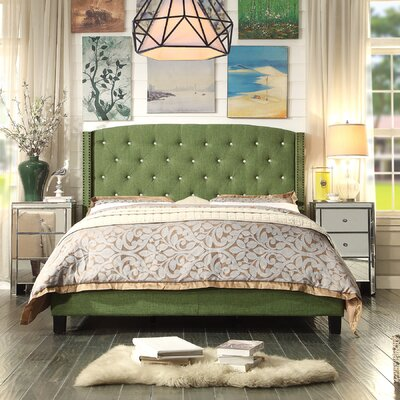 Martins Upholstered Panel Bed Color: Green, Size: Queen