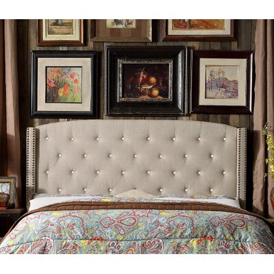 Martins Upholstered Panel Headboard Size: Queen, Color: Green