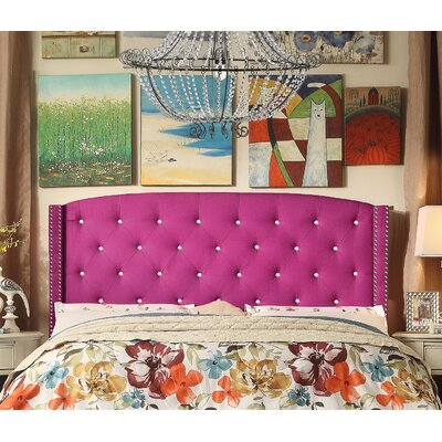 Martins Upholstered Panel Headboard Color: Pink, Size: Queen
