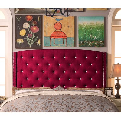Martins Upholstered Panel Headboard Color: Burgundy, Size: Queen