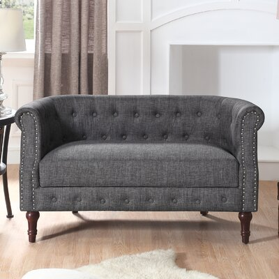 Edmeston Chesterfield Loveseat Upholstery: Gray