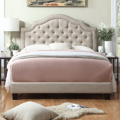 Chugwater Tufted Upholstered Panel Bed Color: Beige, Size: Queen