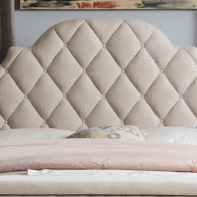 Norfleet Diamond Tufted Upholstered Panel Bed Color: Beige, Size: King