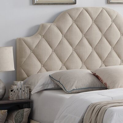 Aderyn Upholstered Panel Headboard Size: Queen, Color: Green