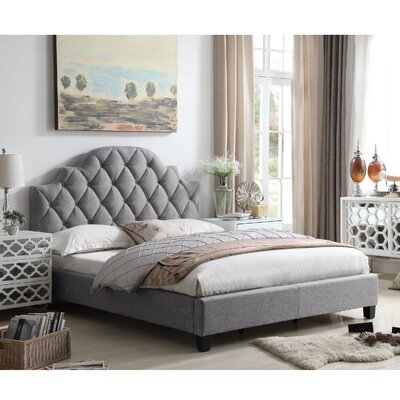 Norfleet Diamond Tufted Upholstered Panel Bed Color: Gray, Size: Queen