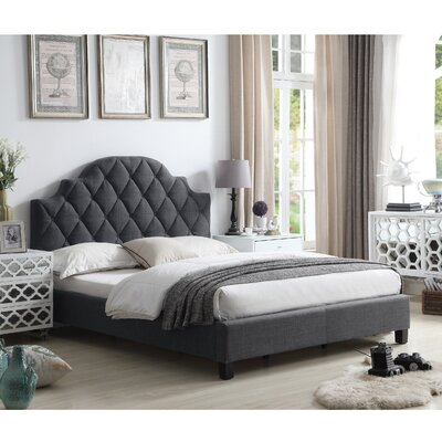 Norfleet Diamond Tufted Upholstered Panel Bed Color: Charcoal, Size: King