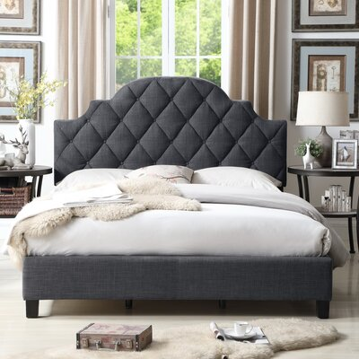 Norfleet Diamond Tufted Upholstered Panel Bed Color: Charcoal, Size: Full