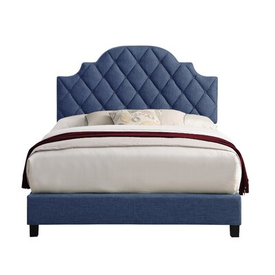 Norfleet Diamond Tufted Upholstered Panel Bed Color: Navy, Size: Queen