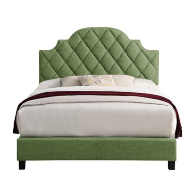 Norfleet Diamond Tufted Upholstered Panel Bed Color: Green, Size: Queen