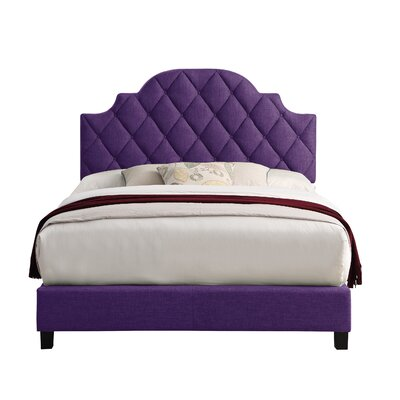 Norfleet Diamond Tufted Upholstered Panel Bed Color: Violet, Size: Queen
