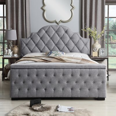 Norfleet Tufted Upholstered Storage Platform Bed Color: Gray, Size: Queen