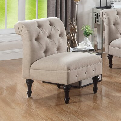 Lauryn Tufted Slipper Chair Upholstery Color: Beige