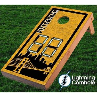 Electronic Scoring Pittsburgh Skyline Cornhole Board Color: Blue lboardpittsburgh001-Blu