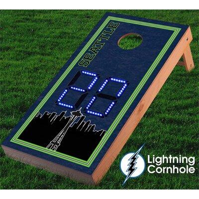 Electronic Scoring Seattle Skyline Cornhole Board Color: Blue lboardseattle001-Blu