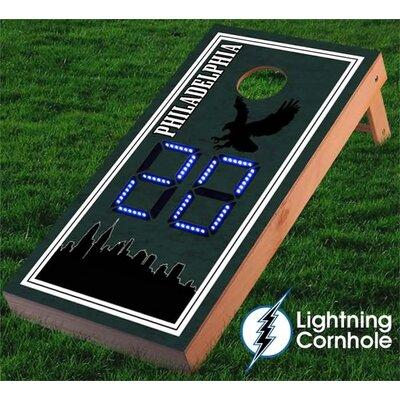 Electronic Scoring Philadelphia Skyline Cornhole Board Color: Blue lboardphiladelphia001-Blu