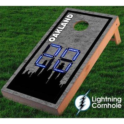 Electronic Scoring Oakland Skyline Cornhole Board Color: Blue lboardoakland001-Blu