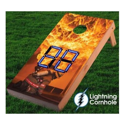 Electronic Scoring Fire Fighter Flames Cornhole Board Color: Blue lboardservices009-Blu