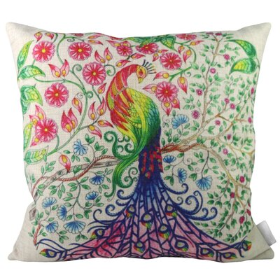 Colorful Secret Garden Peacock Throw Pillow